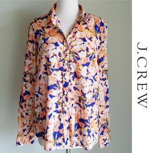 J Crew Peach Blue Floral Button-Down Perfect Shirt